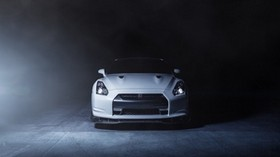 nissan, gt-r, r35, nissan, white, the front, smoke - wallpapers, picture