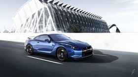 nissan, gt-r, blue6 side view, speed - wallpapers, picture
