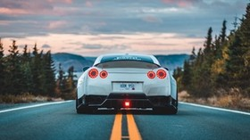 nissan gt-r, nissan, car, rear view, marking, road, asphalt - wallpapers, picture