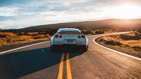 nissan gt-r, nissan, car, sports car, rear view, road - wallpapers, picture