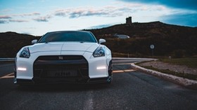 nissan gt-r, nissan, car, sports car, white, front view - wallpapers, picture