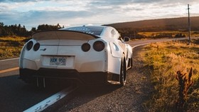 nissan gt-r, nissan, sports car, car, white, rear view - wallpapers, picture
