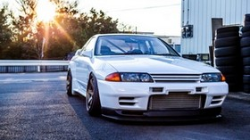 nissan, gtr, r32, skyline, white, front view - wallpapers, picture
