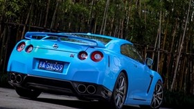 nissan, gtr, r35, bumper, blue, rear view - wallpapers, picture