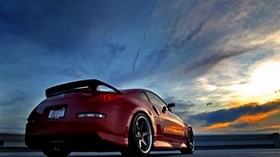 nissan, red, rear view, sky - wallpapers, picture