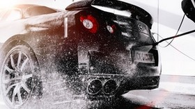 nissan r35 gt-r, wash, car, spray - wallpapers, picture