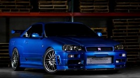 nissan skyline, gtr, r34, blue, front view - wallpapers, picture