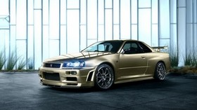 nissan skyline, r34, golden, side view - wallpapers, picture