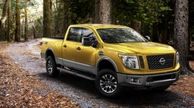nissan, titan, yellow, side view - wallpapers, picture
