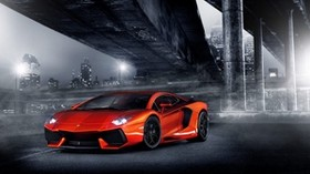 night, lights, aventador, columns, bridge, lamborghini, orange, lamborghini, headlight, city - wallpapers, picture