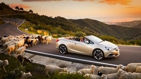 opel cascada, cars, rams, road, sunset - wallpapers, picture