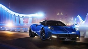 pagani, huayra, blue, front view, night - wallpapers, picture