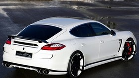 panamera, porsche, car, white, rear view - wallpapers, picture