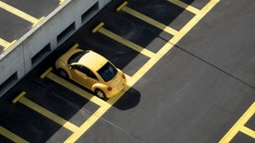 parking, car, minimalism, yellow - wallpapers, picture