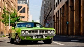 plymouth, barracuda, 1971, green, front bumper - wallpapers, picture