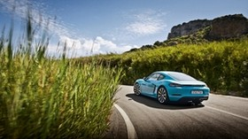 porsche, 718, cayman, blue, side view - wallpapers, picture