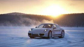 porsche, 911, white, winter, snow, skid, drift - wallpapers, picture