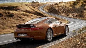porsche, 911, carrera 4, coupe, car, rear view, road - wallpapers, picture