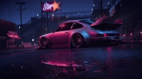 porsche 911 carrera rsr, porsche, sports car, old, tuning, night, neon - wallpapers, picture