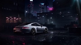 porsche 911 carrera s, porsche, sports car, gray, wet, side view, night - wallpapers, picture