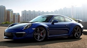 porsche 911, carrera, blue, side view - wallpapers, picture