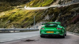porsche 911 gt3, porsche, sports car, race, green - wallpapers, picture