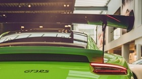 porsche 911 gt3 rs, porsche 911, porsche, green, rear view - wallpapers, picture