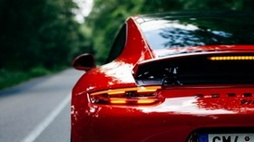 porsche 911, porsche, car, sports car, red, rear view, road - wallpapers, picture