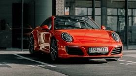 porsche 911, porsche, sports car, red, front view, car - wallpapers, picture