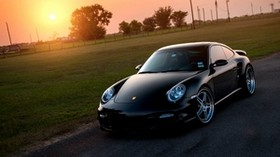 porsche, 911, turbo, 997, black, front, porsche, black, sun, lawn, glare - wallpapers, picture