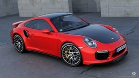 porsche, 911, turbo, s, red, side view - wallpapers, picture