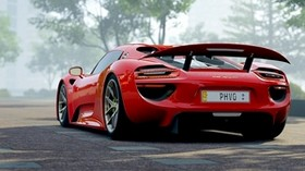 porsche 918, porsche, sports car, side view, red - wallpapers, picture