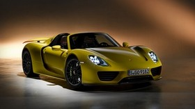 porsche 918, spyder, porsche, yellow, side view - wallpapers, picture