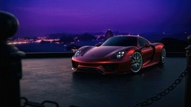 porsche, 918, side view, night - wallpapers, picture
