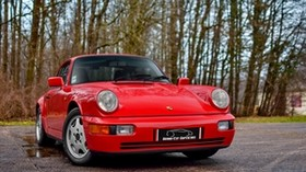 porsche 964, carrera 4, red, side view - wallpapers, picture