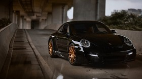 porsche 997, porsche, sports car, black, front view - wallpapers, picture