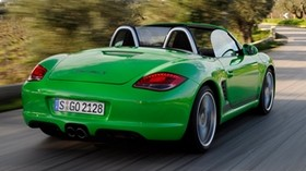 porsche, boxster s, convertible, green, rear view, speed - wallpapers, picture