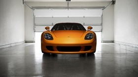 porsche, carrera, gt, orange, front view - wallpapers, picture
