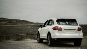 porsche cayenne, porsche, car, white, rear view, crossover - wallpapers, picture
