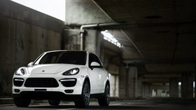 porsche cayenne, porsche, machine, white, front view - wallpapers, picture