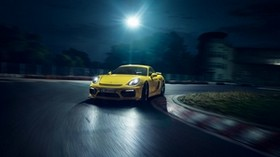 porsche, cayman, gt4, yellow, side view - wallpapers, picture