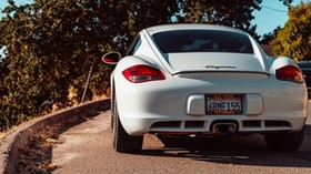 porsche cayman, porsche, car, sports car, white, rear view - wallpapers, picture