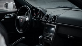 porsche cayman s, porsche, machine, salon, black, steering wheel - wallpapers, picture
