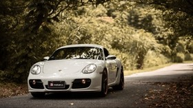 porsche cayman s, porsche, car, sports car, white, front view, asphalt - wallpapers, picture