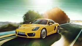 porsche cayman, yellow, movement, road, turn - wallpapers, picture