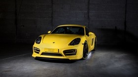 porsche, cayman, yellow, front view - wallpapers, picture