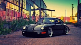porsche, black, building - wallpapers, picture