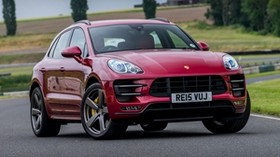 porsche, macan, turbo, uk-spec, red, front view - wallpapers, picture