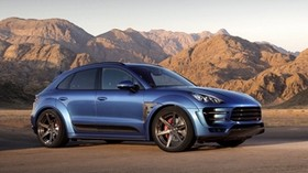 porsche, macan, ursa, blue, side view - wallpapers, picture