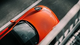 porsche, machine, red, top view, asphalt - wallpapers, picture
